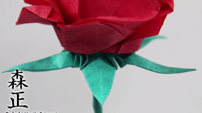 Cách gấp đài hoa hồng theo phong cách Origami