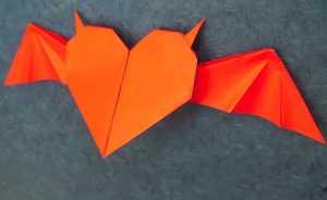 Cách gấp trái tim giấy với đôi cánh ác quỷ