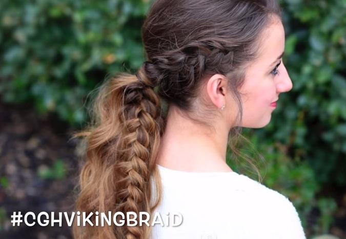 Tết tóc Viking kết hợp búi tóc