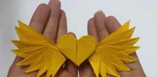 Cách gấp trái tim Origami có đôi cánh thiên thần lộng lẫy