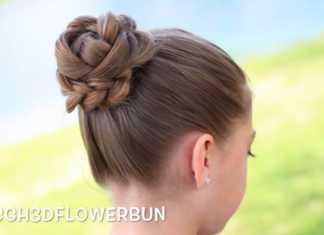 Cách búi tóc hình bông hoa 3D cực đẹp