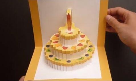 Cách làm thiệp 3D sinh nhật có hình bánh ga-tô bên trong