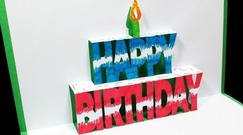 """Cách làm thiệp sinh nhật có dòng chữ """"happy birthday"""" 3D bên trong"""