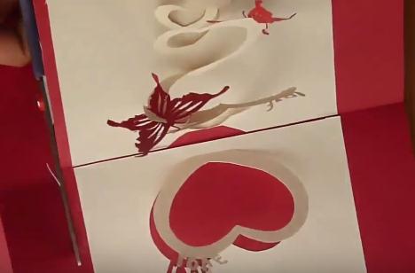Cách làm thiệp 3D valentine đính trái tim và cánh bướm