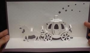 Cách làm thiệp 3D đính cỗ xe ngựa bí ngô