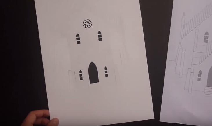 Cách làm thiệp 3D đính tòa lâu đài