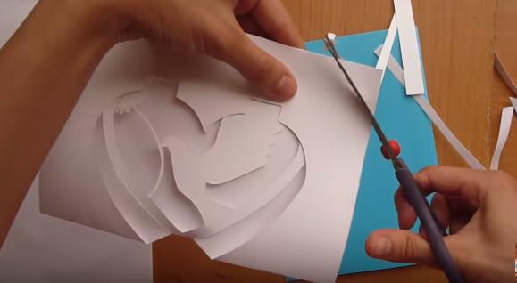 Cách làm thiệp 3D trái tim đính bồ câu trắng