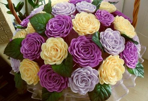 3 cách làm hoa hồng bằng giấy nhún
