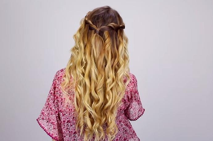 Cách tết tóc thác nước 2 tầng cho tóc sóng
