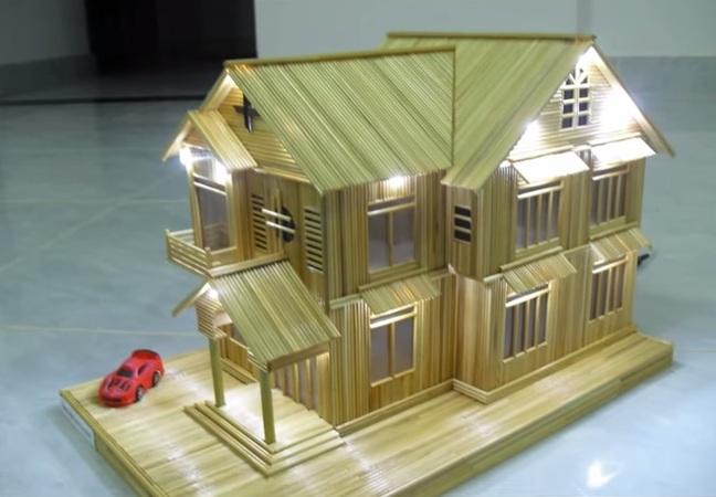 Cách làm nhà tăm 2 tầng