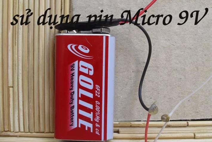 Nguần pin micri 9V cho nhà tăm tre