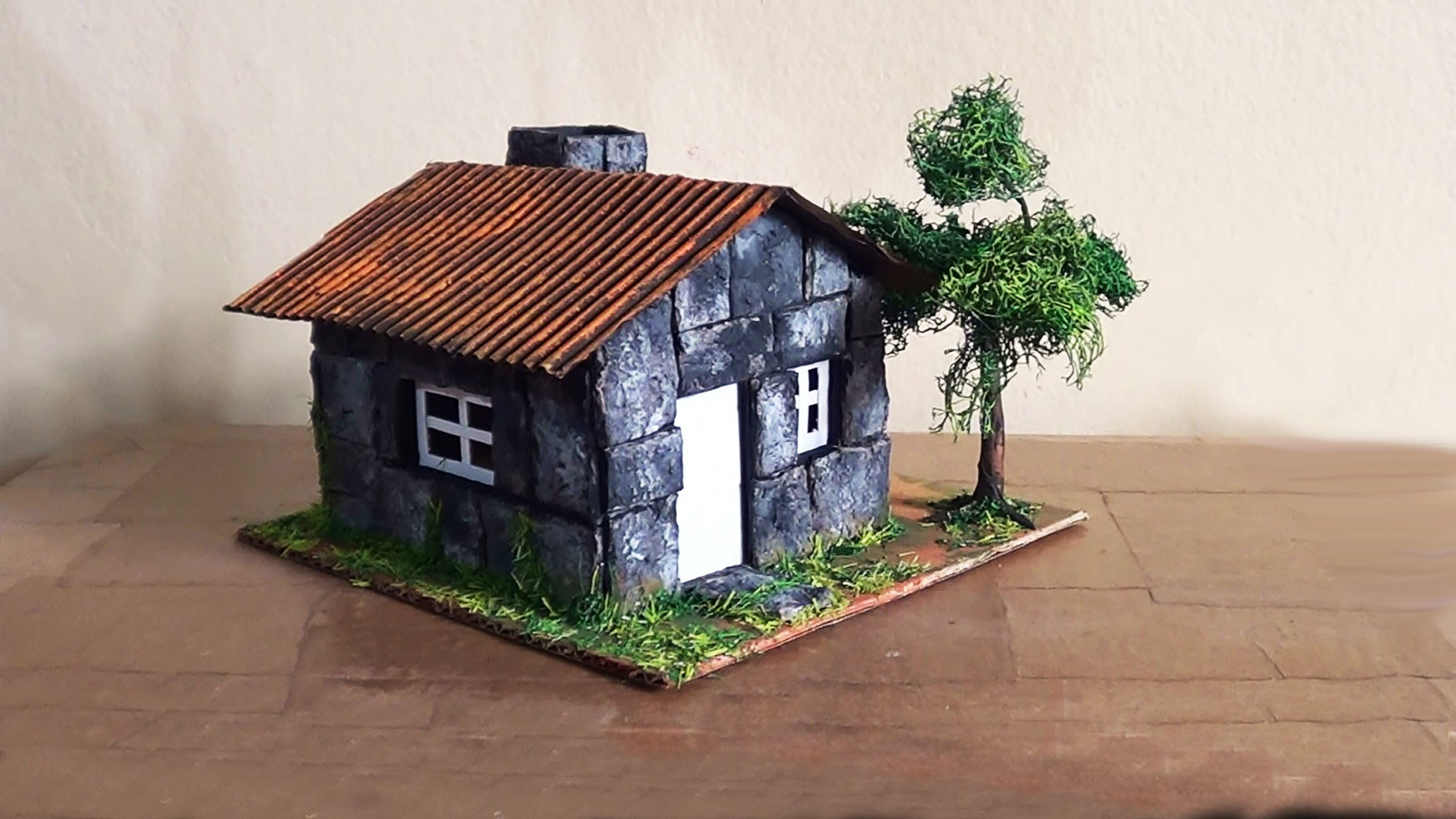 Cách làm nhà mô hình giấy đậm nét rêu phong cổ kính