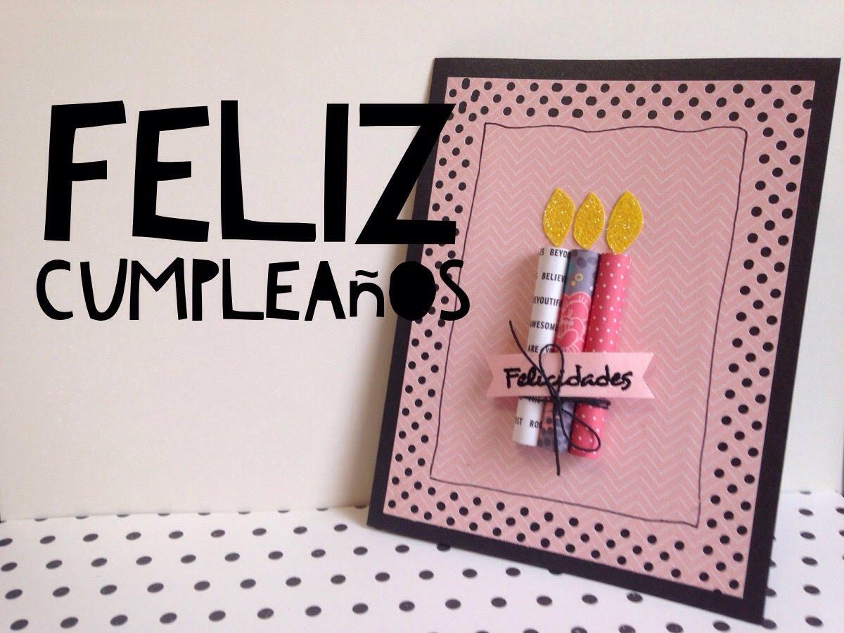 Cách làm thiệp sinh nhật đính cây nến dễ thương bên ngoài