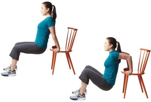 Bài tập làm nhỏ bắp tay - bài tập với ghế hiệu quả