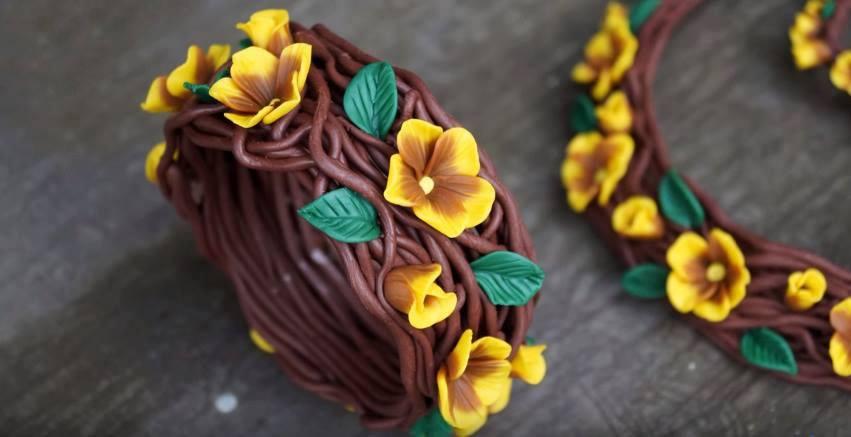 Cách làm vòng tay dây leo có hoa bằng đất sét Nhật tuyệt đẹp