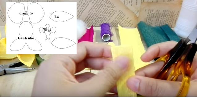 Cách làm lan hồ điệp bằng giấy nhún