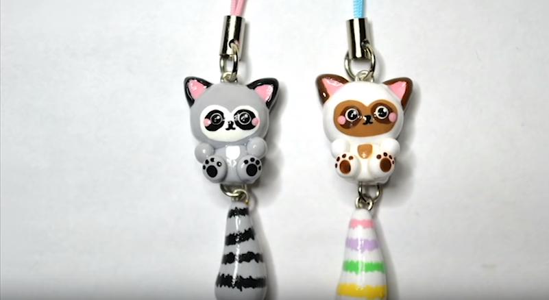 Cách làm móc khóa hình mèo dễ thương bằng đất sét Nhật