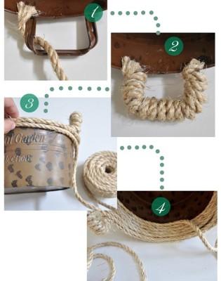 Cách làm giỏ đựng đồ bằng dây thừng và keo sữa