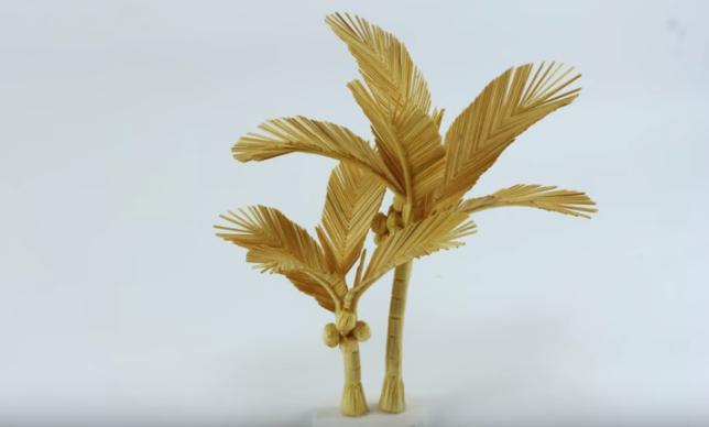Cách làm cây dừa bằng tăm tre độc đáo