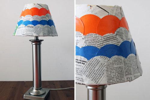 Cách làm đèn bàn độc đáo bằng giấy báo