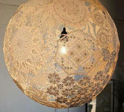 Cách làm đèn treo bằng vải ren tuyệt đẹp