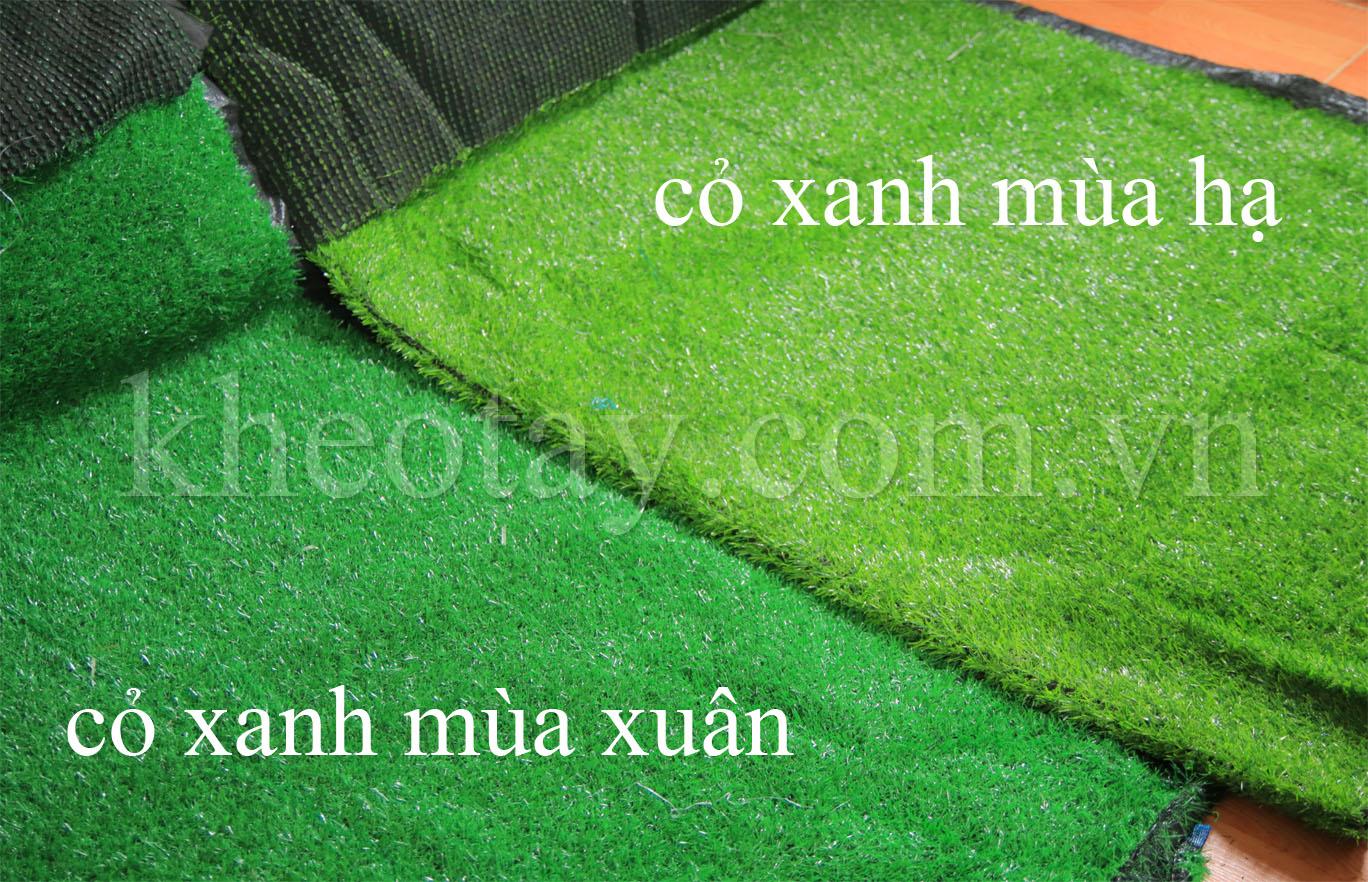 2 loại màu xanh của thảm cỏ nhân tạo tại kheotay.com.vn