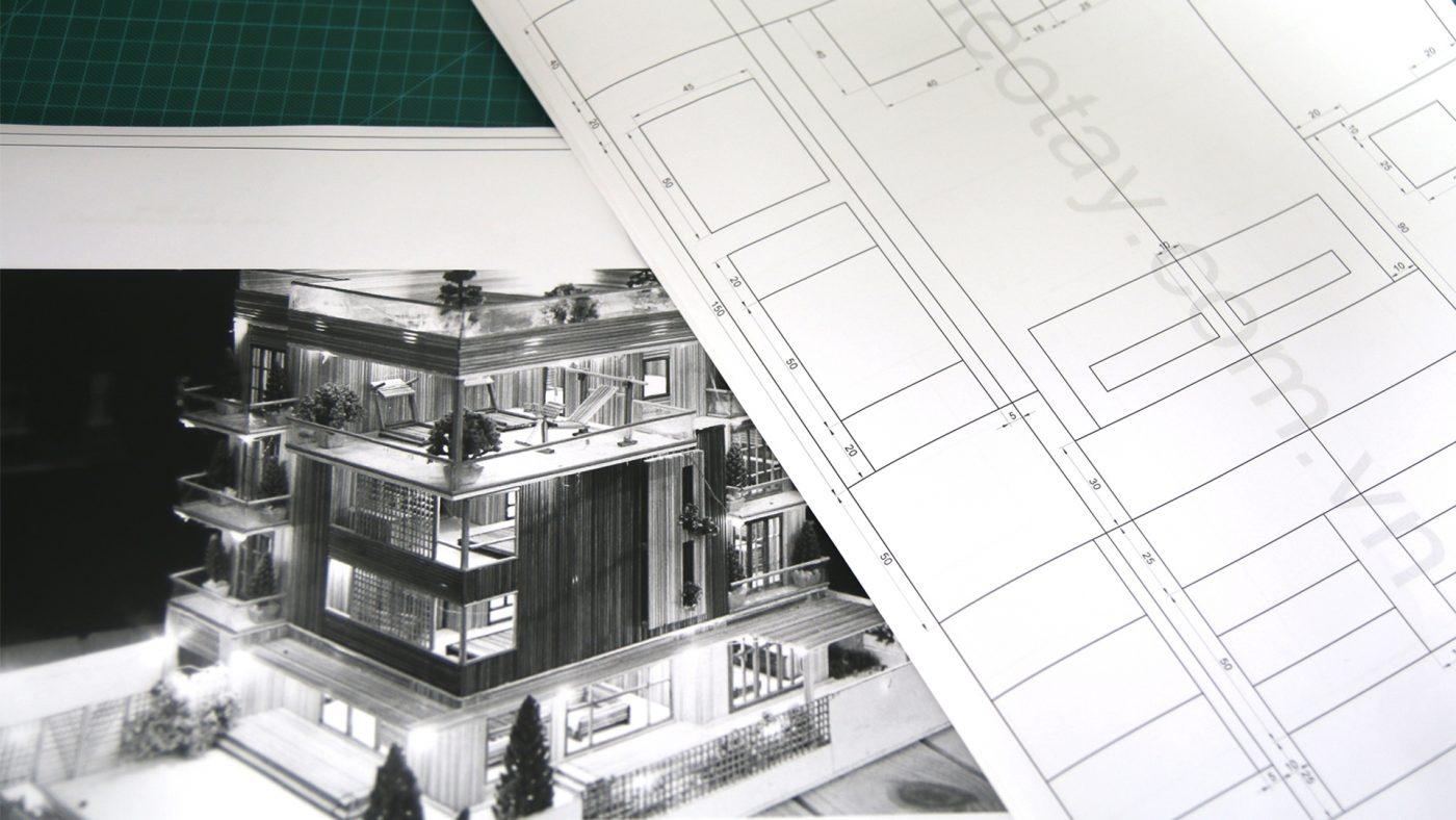 Bản vẽ mô hình nhà bằng tăm tre đơn giản