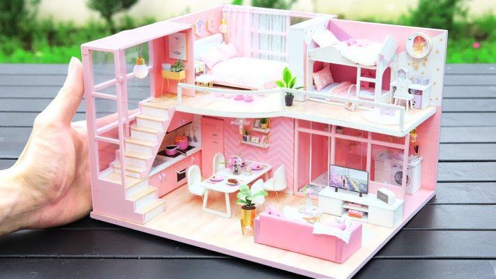 Cách làm nhà búp bê DIY hai phòng ngủ