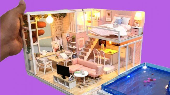 Làm mô hình nhà thu nhỏ 2 tầng với đầy đủ nội thất và bể bơi