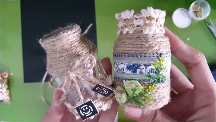 Cách trang trí lọ thủy tinh cực kỳ dễ thương bằng dây thừng
