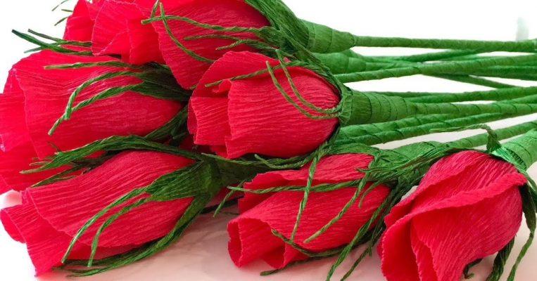Cách làm một bó hoa hồng hoàn chỉnh bằng giấy nhún