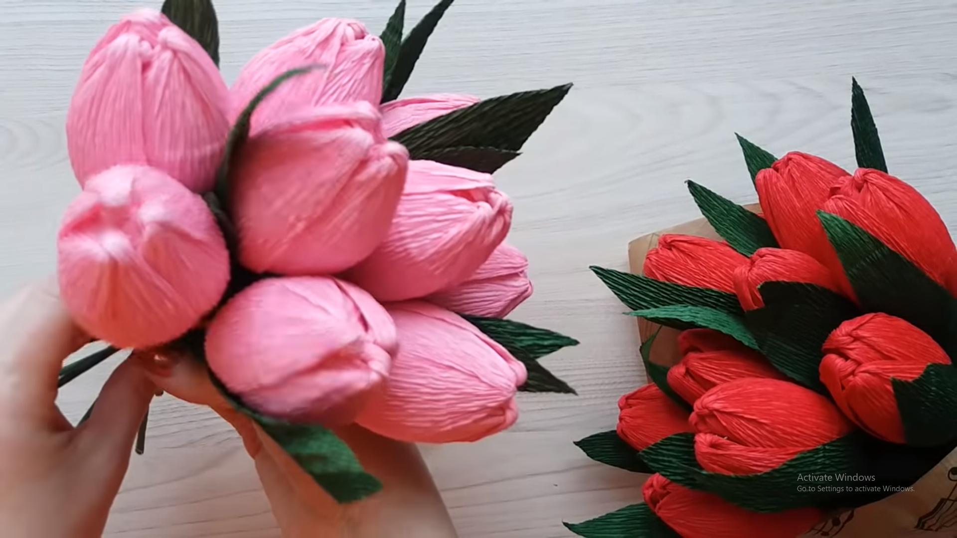 Cách làm hoa tulip có kẹo bên trong
