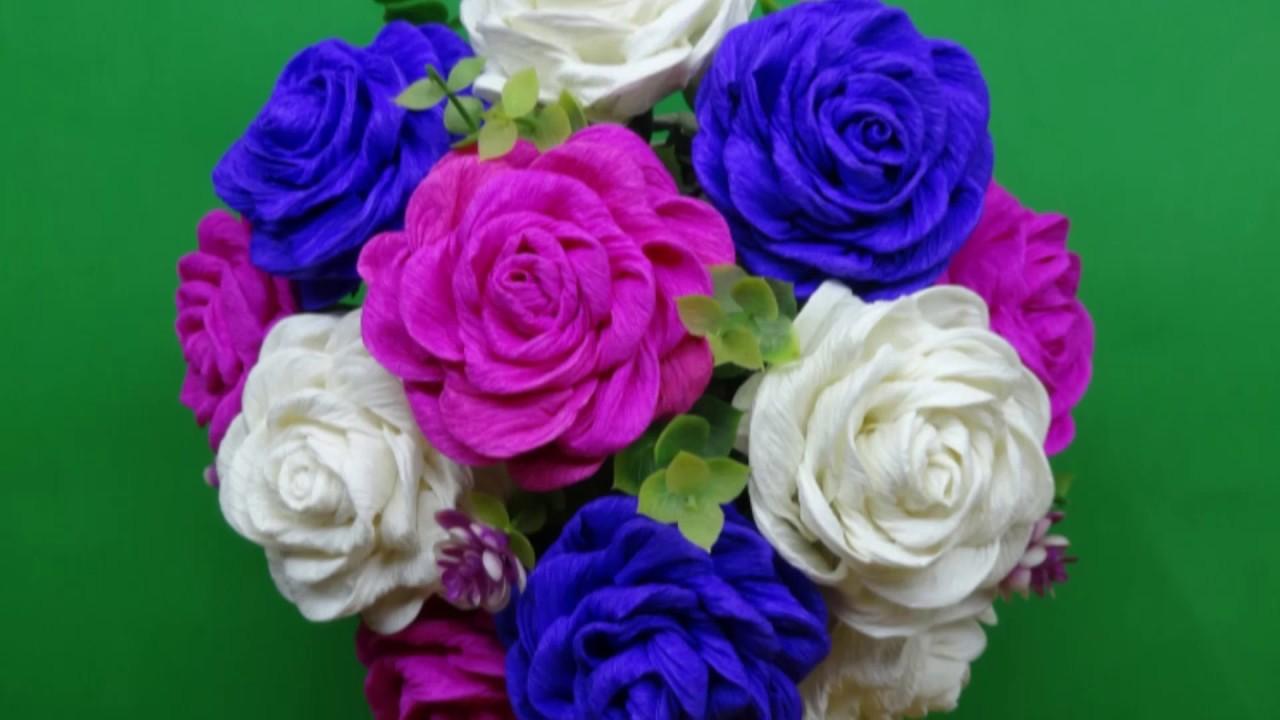 Hướng dẫn làm hoa hồng từ giấy nhún đơn giản