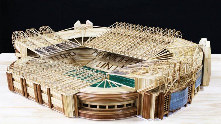 Cách làm sân vận động Old trafford bằng tăm tre