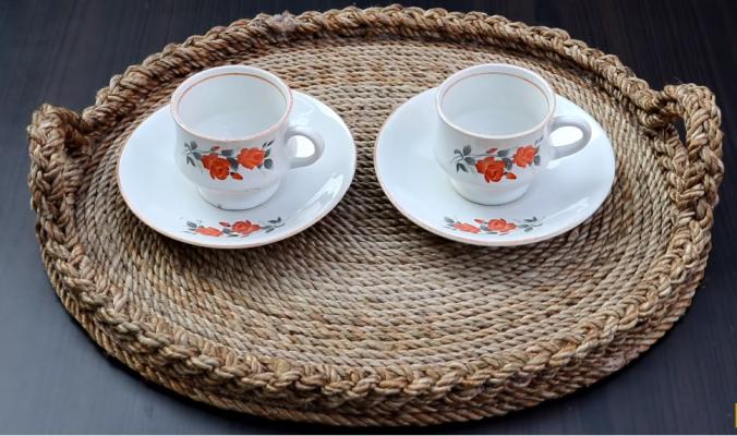Làm khay trà từ dây thừng trang trí