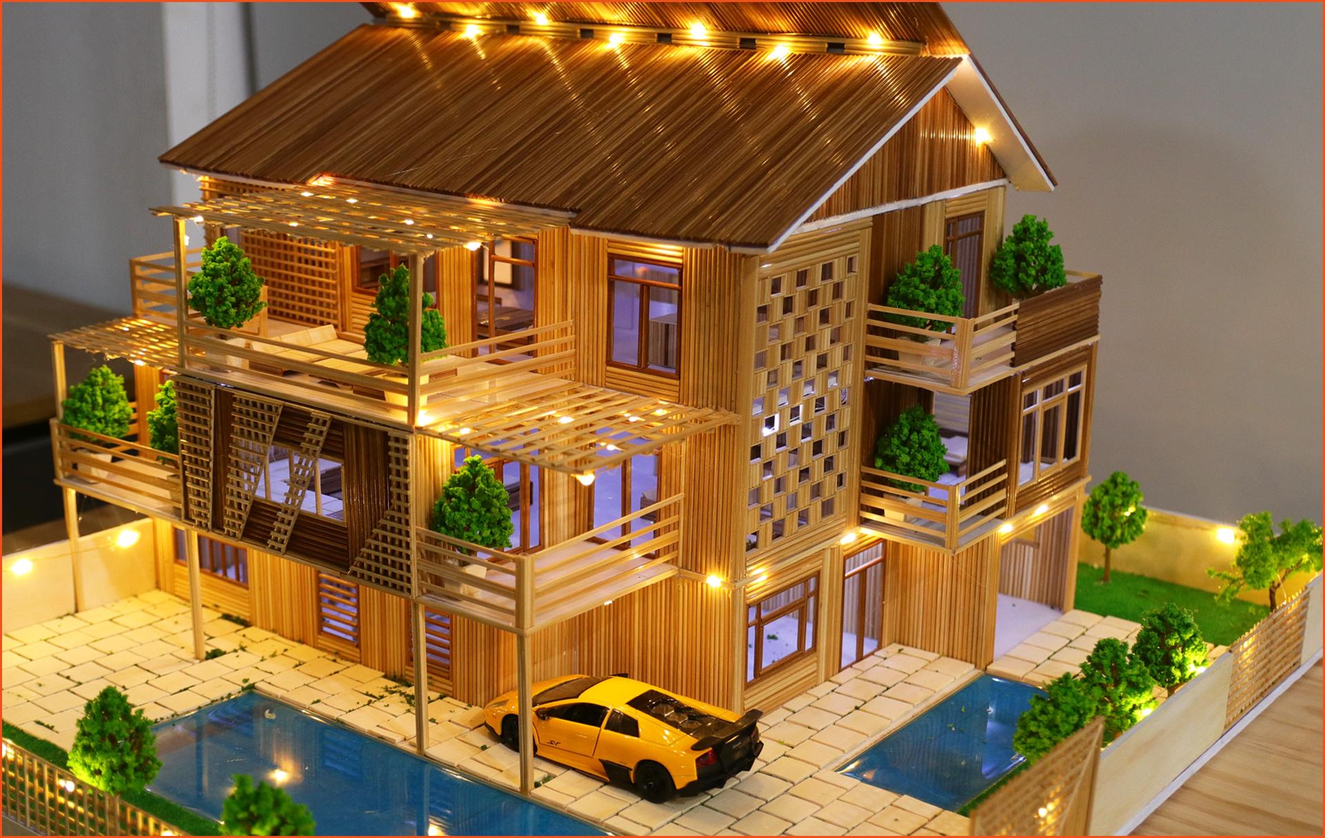Mô hình nhà tăm tre