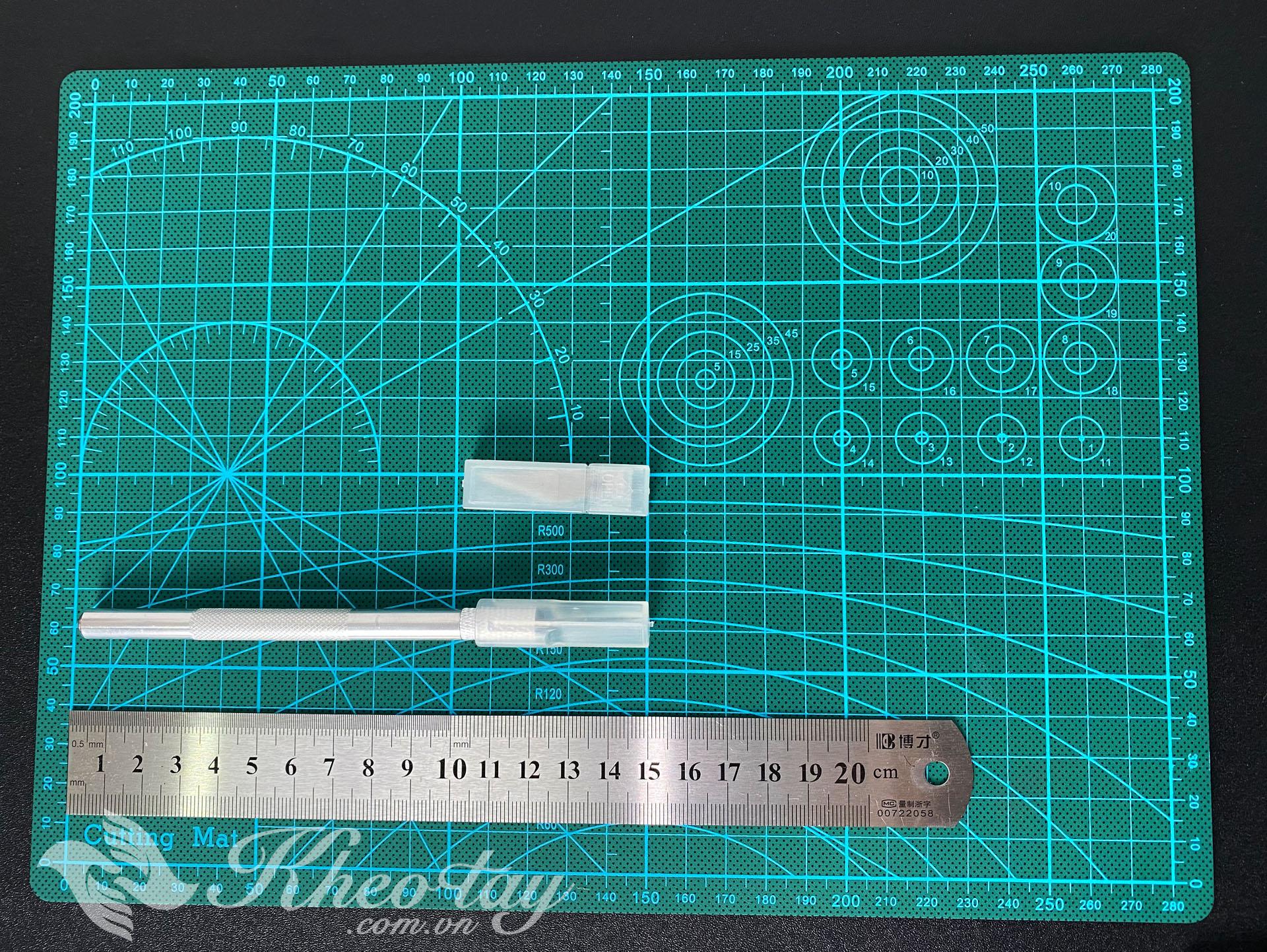 Bộ Combo Cutting mat A4 + thước 20cm + dao trổ kèm bộ lưỡi thay thế