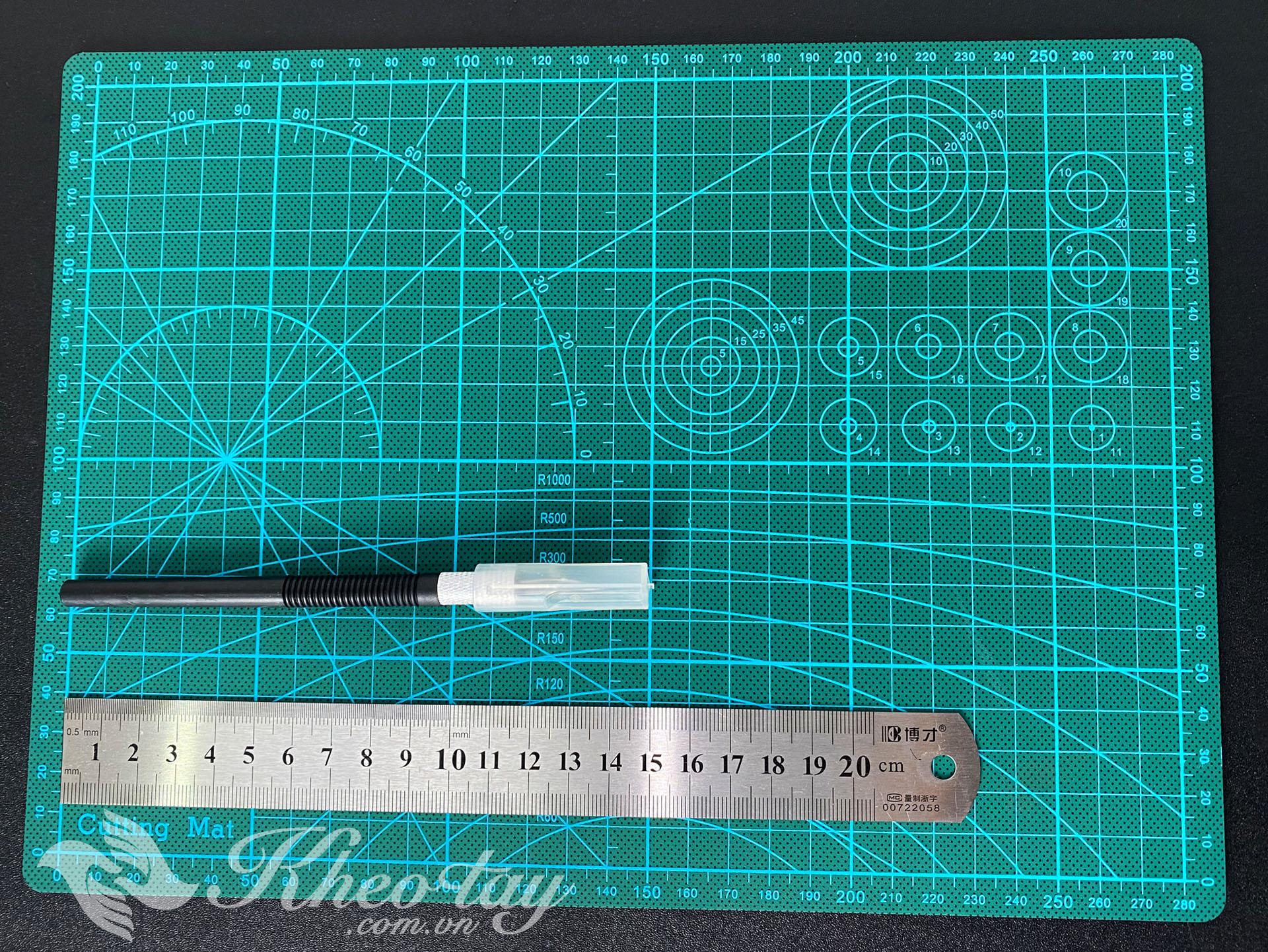 Bộ Combo Cutting mat A4 + thước 20cm + dao trổ KHÔNG kèm bộ lưỡi thay thế